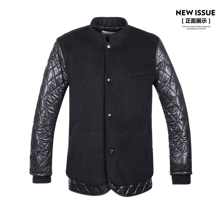 VIISHOW 2015 New arrived warm winter coat men black coat patchwork jacket for men rib cuff