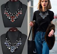 2015 New Fashion Brand Designer Chain Choker Vintage Rhinestone Necklace Bib Statement Necklaces & Pendants Women Jewelry HD300(China (Mainland))