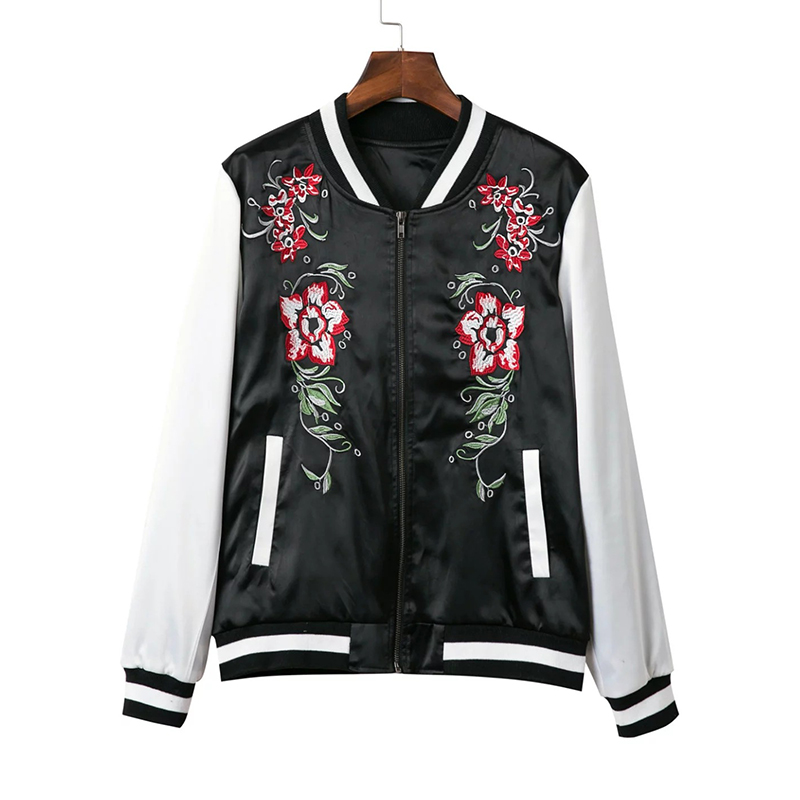 2016 autumn collection women's jackets high quality casual flowers embroidery baseball jackets for women sales before 05th Sept.(China (Mainland))