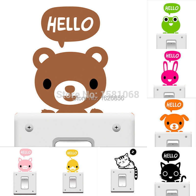Removable Funny Cat Switch Black Art Vinyl Decal Home Decor Wall Window Stickers(China (Mainland))