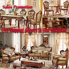 Free Shipping Whole house furniture italian genuine leather sofas 5pcs living room sofa 7pcs dinner set 3pcs table chair(China (Mainland))