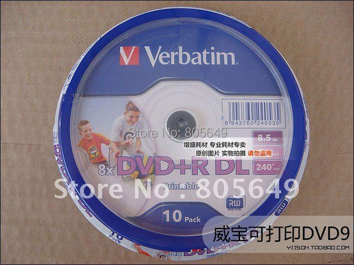 Wholesale Verbatim Printable DVD discs 8X DVD+R DL, 10pcs 8.5G(China (Mainland))