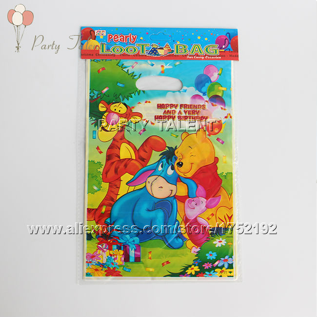 Party supplies 10PCS Winnie the pooh theme party, party decoration PVC gift bag candy bag cartoon pattern(China (Mainland))