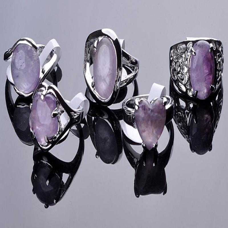 wholesale jewelry lots 5pcs Big stone silver plated Rings New free shipping(China (Mainland))