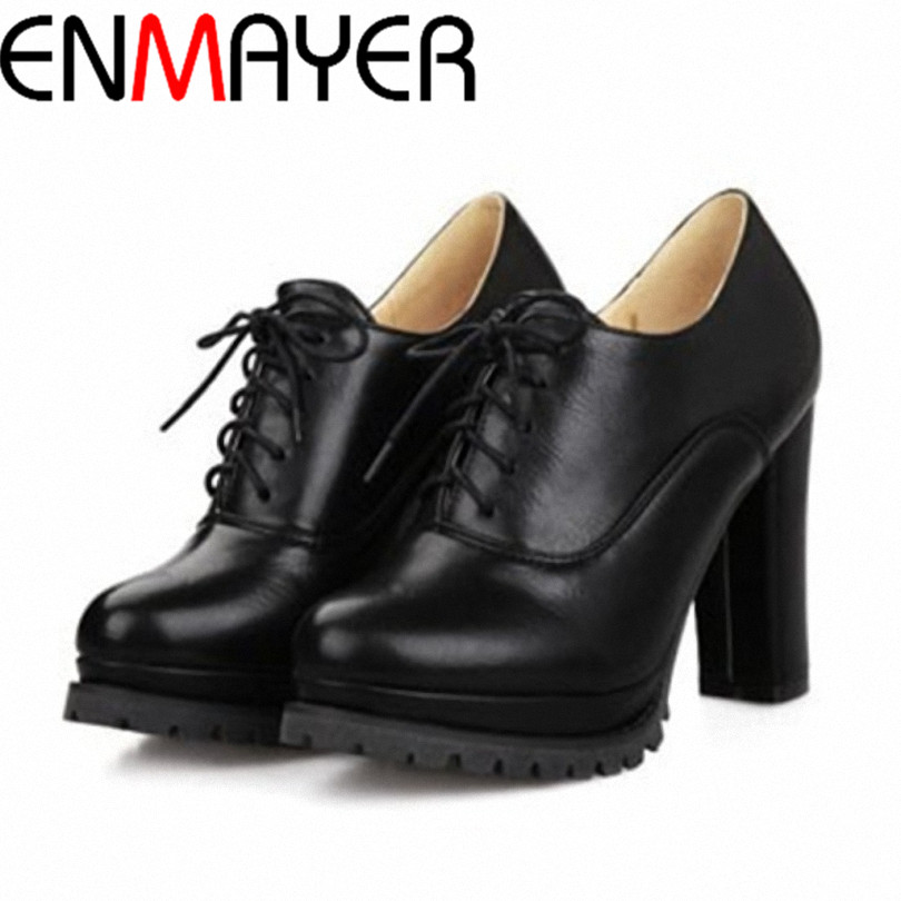 ENMAYER grade PU oxfords shoes sipmle and Casual oxforsd shoes for girls lacs-up round toe square heels women oxfords size:34-40<br><br>Aliexpress