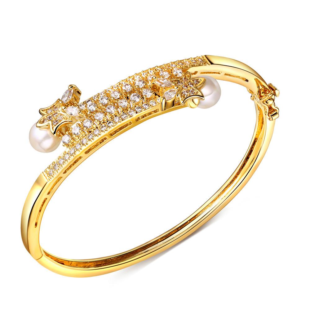 2016 simulated pearl bridal bangle 18k gold filled Bangles High Quality Luxury Cubic Zirconia Bracelet Lead Free Bridal(China (Mainland))