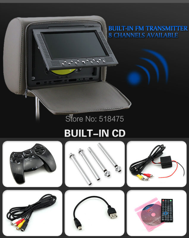 2014 new hot 7 Inch Car DVD headrest for all car(China (Mainland))