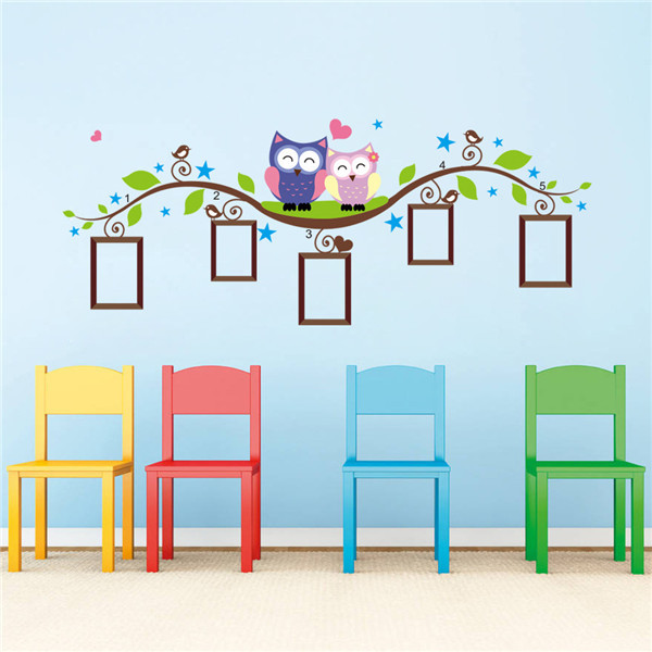 Cute Cartoon Decals Owl Photo Frame Wall Stickers Home Decor Wall Sticker For Kids Room Hot selling Free Shipping