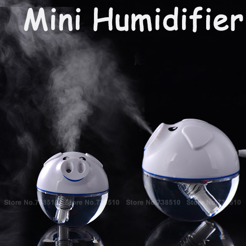 Hot! usb mini air humidifier LED Nightlight power protection PIG aroma vapor and essential oil nebulizer,car air humidifier(China (Mainland))