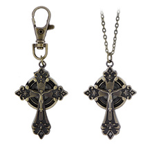 Hot Fashion Creative Vintage Cross Sahped Quartz Watches Women Pocket Watch Key Ring Necklace Gift