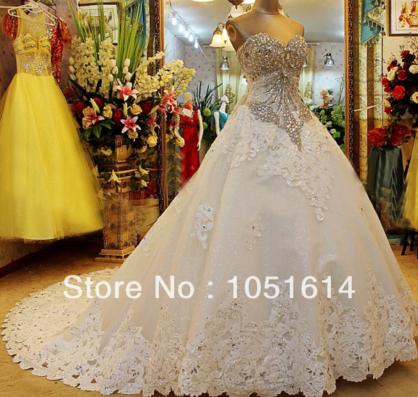 Turmec » ball gown wedding dresses with sweetheart neckline and bling