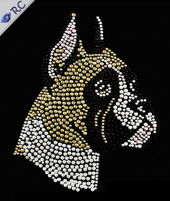 25Pcs/Lot 8*9CM Dog Design Hot-Fix Rhinestones Iron On Heat Transfer For Textile(China (Mainland))