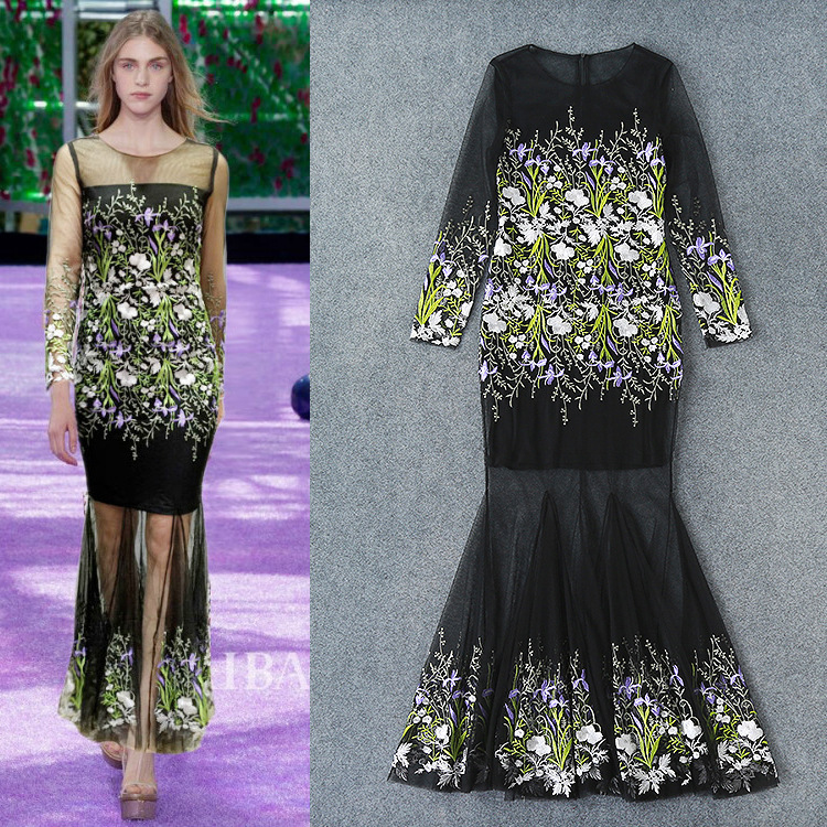 European New Spring And Summer 2016 Heavy New Embroidered Gauze Long Sleeve Dress Catwalk Fishtail High-end Fashion Dress