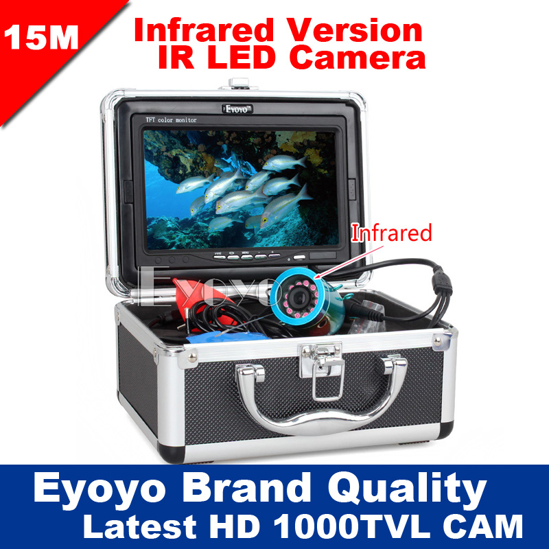 "Eyoyo Original 15M Professional Fish Finder Underwater Fishing Video Camera 7"" Color Monitor 1000TVL HD CAM 12pc Infrared lights(China (Mainland))"