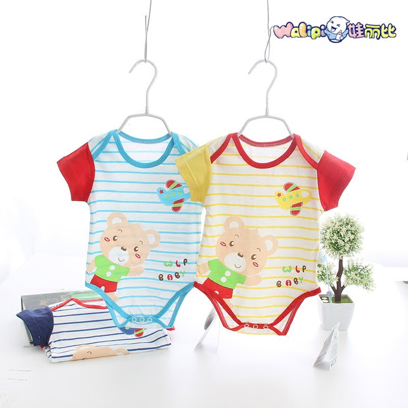 2016 new baby rompers baby clothes cartoon round collar short sleeve jumpsuit climb clothes(China (Mainland))