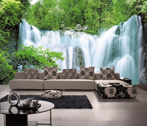 Large 3d tv mural sofa waterfall wallpaper eco friendly for Wallpaper for large walls