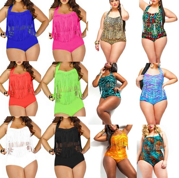 2015 NEWEST Plus Size Bikini Women Ladies Sexy Retro Padded Push Up Tassel High Waist Bikinis Set Swimwear Swimsuit Bathing Suit(China (Mainland))