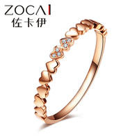 ZOCAI Real 18K rose gold 0.012 ct certified genuine diamond wedding women ring I-J / SI Genuine diamond anniversary fine jewelry