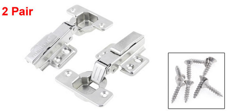 """Silver Tone Stainless Steel Full Overlay Mount Concealed Hinge 3.9"""" 2 Pair(China (Mainland))"""