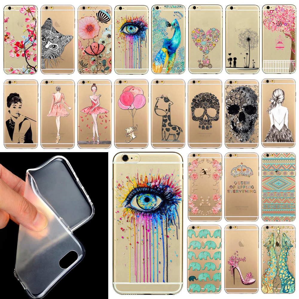 "Гаджет  Phone Case Cover For iPhone 6 4.7""  Ultra Soft Silicon Transparent Cute Shoes Girl Flowers Animals Patterns Free Shipping Mix None Телефоны и Телекоммуникации"