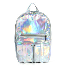 2016 Mochila Masculina backpack Women Silver Hologram Laser Backpack men's Bag leather Holographic Backpack Multicolor(China (Mainland))