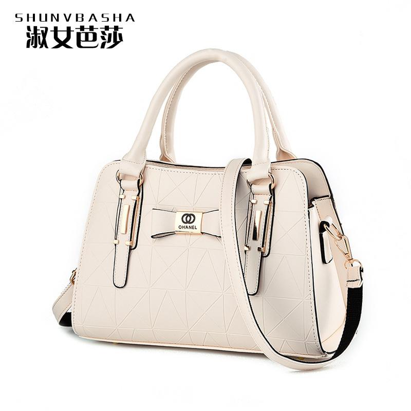 Solid Handbags For Ladies Handbag Large Capacity New Fashion Lock Casual Women Shoulder Bags PU Leather Female Big Tote Bags(China (Mainland))