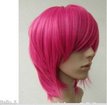 Wholesale& heat resistant LY free shipping>>> New Short Hot Pink straight base cosplay wig