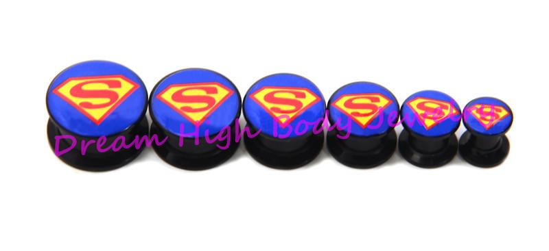 Superman Flesh Tunnel Black Acrylic Ear Plug 6-16mm Screw Body Piercing Jewelry Expander Ring Men's new style - Dream High store