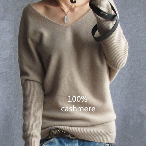 2017 Spring autumn cashmere sweaters women fashion sexy v-neck sweater loose 100% wool sweater batwing sleeve plus size pullover(China (Mainland))