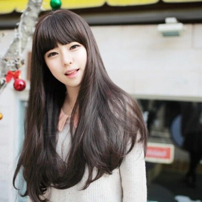 Korea Style Lovely Long Hair Wig Women Synthetic Hair Wigs Naturally Wavy Brown Burgundy Black Oblique Neat Bangs Cosplay(China (Mainland))