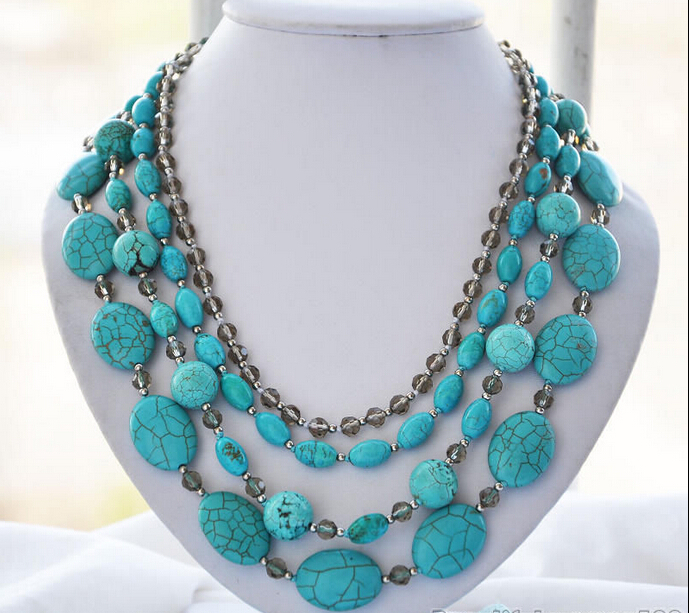 DD Wholesale FREE SHIPPING >>>> Z5949 4strands blue turquoise faceted smoky quartz bead necklace 21inch(China (Mainland))