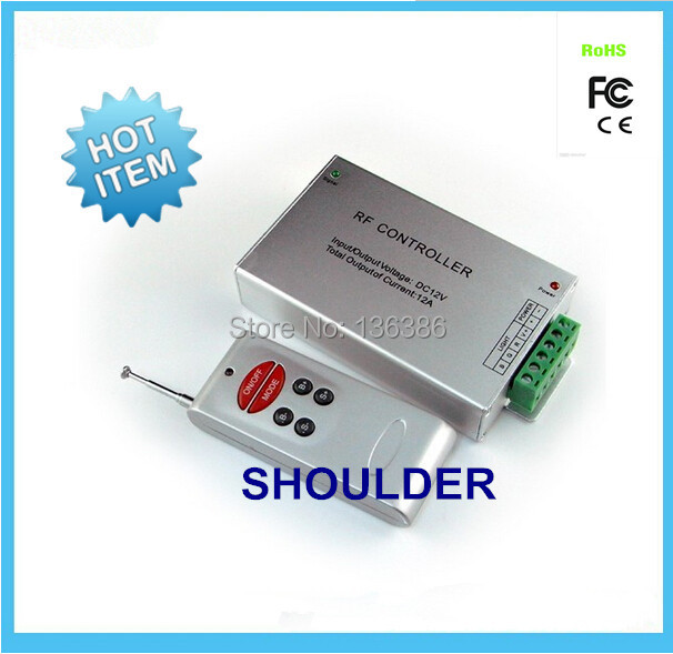 Free Shipping 12-24VDC 12A 6 Keys RF Led Controller Remote Aluminum RGB Controller for led light(China (Mainland))