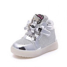 2016New Spring Children shoes  Brand Hook Loop LED Shoes Lighted Kids Sneakers Children Led Sneakers Boys Girls Kitty Shoes(China (Mainland))