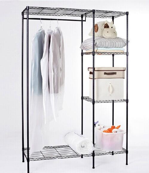 Adjustable Closet Steel Wardrobe Rack Shelf with cloth(China (Mainland))