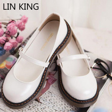 Buy LIN KING New Fashion Women Casual Shoes PU Solid Low Top Massage Spring Shoes Buckle Strap Round Toe Thick Sole Simple Shoes for $19.92 in AliExpress store