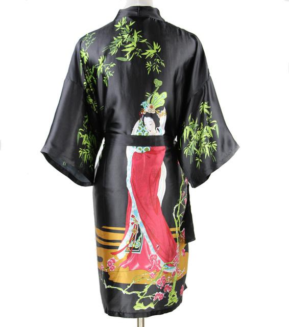 Большой размер XXXL сексуальное черный китайский женщины шелковый халат национальный ...