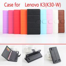 For Lenovo k3 k30w Phone Case Folio Flip Pure Color Lichee Pattern PU Leather Wallet Case Cover Cash/Card Slots sanheng