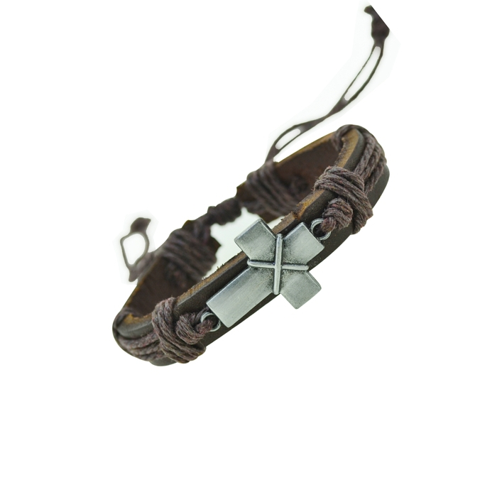 Cross Charm Genuine Leather Bracelets Men Bracelets for Women Wristband Bracelet Cord