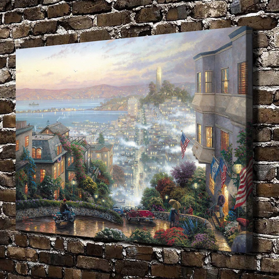 H1195 Thomas Kinkade San Francisco Lombard Street , HD Canvas Print Home decoration Living Room Bedroom Wall pictures painting(China (Mainland))