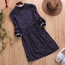 Romantic flowers print sweet lace stand collar long sleeve cotton and linen dress mori girl vintage style plus size D982