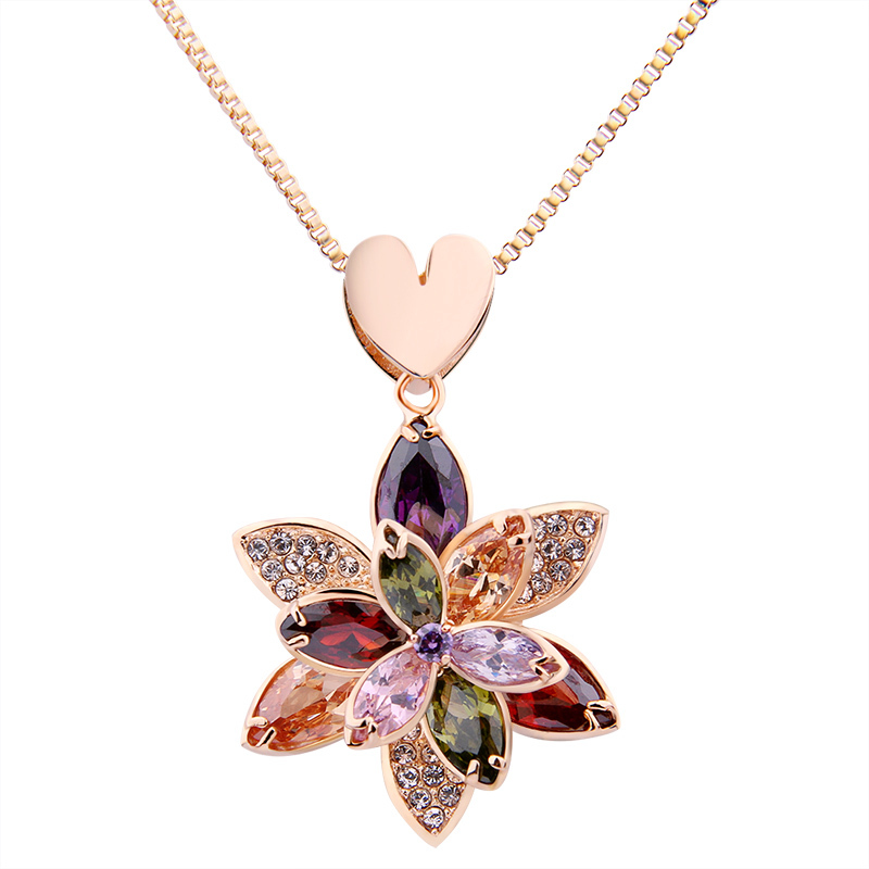 party crystal flower gold mesh necklace Luxury wedding Super deal Jewelry SN077 - VOROCO Jewellery Store store