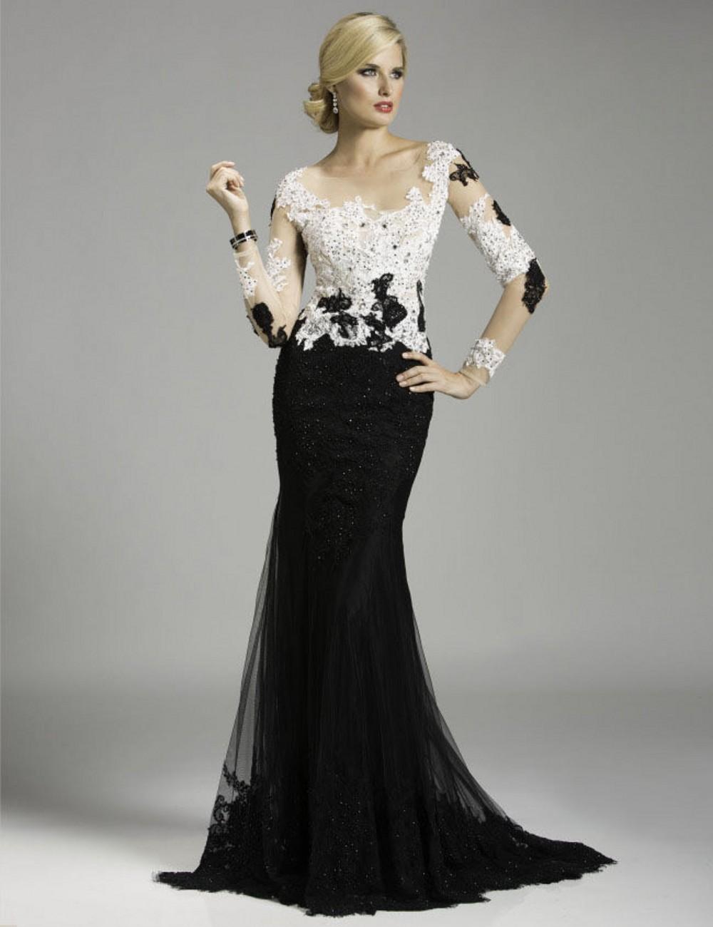 white and black mermaid prom dress wwwimgkidcom the