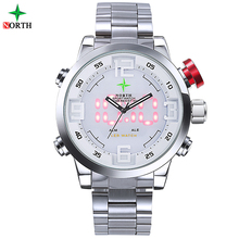 Men Led Digital Watch Military Male Sports Watch Analog Digital-watch LED Stainless Steel Outdoor Quartz Men Watches 2015 Whatch