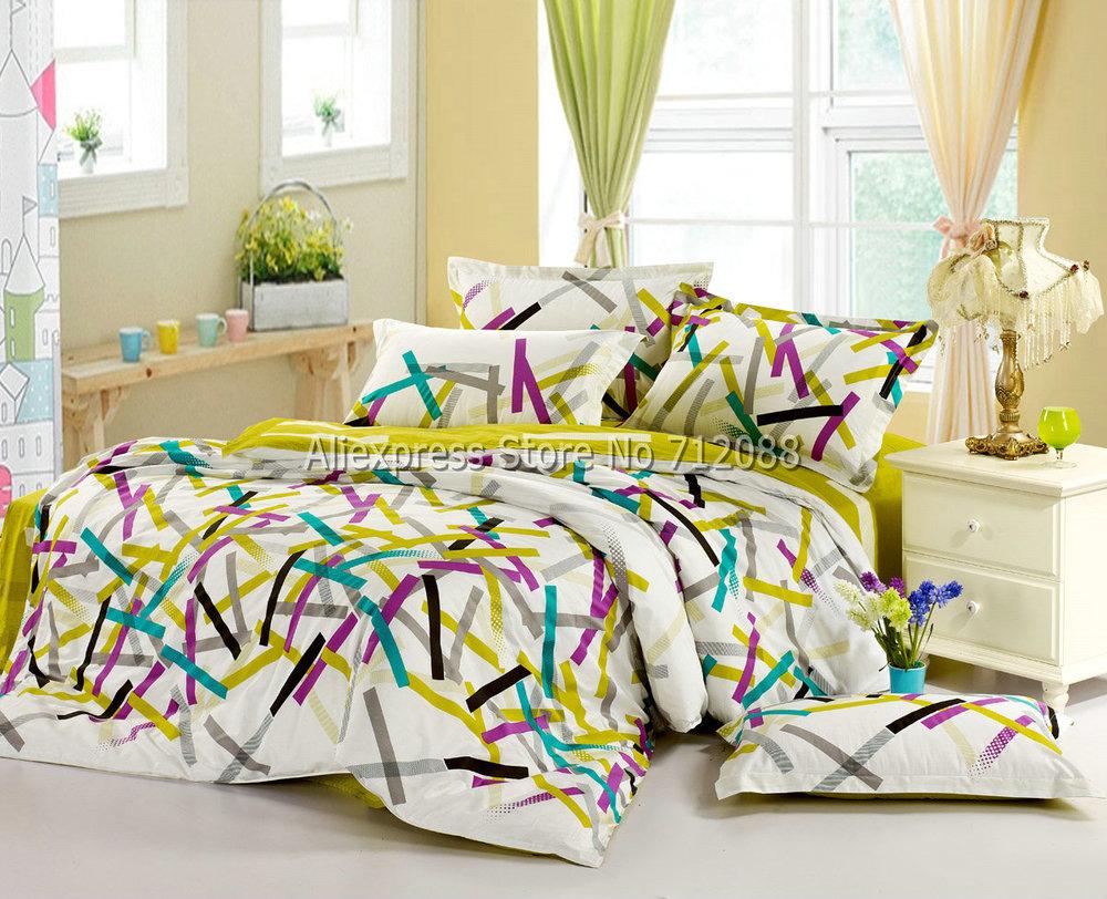 Wholesale,yellow Purple Blue Geometric Mordern Pattern Cotton Bedding Sets Bedlinen 4pcs Queen