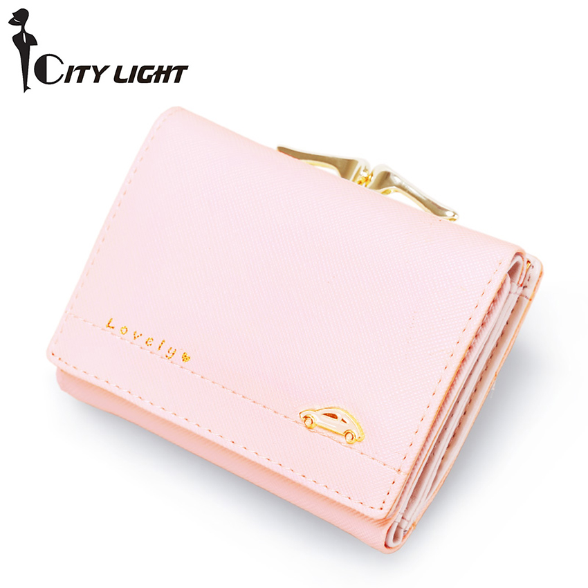 Three fold wallet female short style 2016 new fashion students small purse simple coin purse coin pocket(China (Mainland))