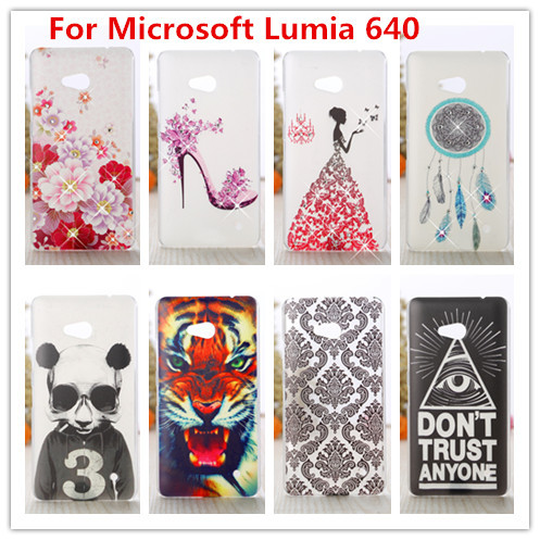 For Microsoft Lumia 640 Case /Luxury Crystal Diamond 3D Bling Hard Plastic Cover Case For Nokia Microsoft Lumia 640 Phone Cases(China (Mainland))