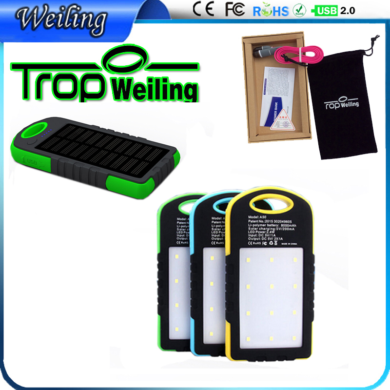 Tropweiling solar 18650 charger 6000mah external battery charger portable solar power bank for All phones(China (Mainland))