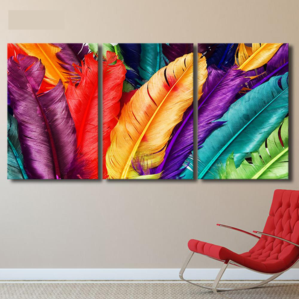 Colorful Feather Fresh Look Photo Wall Art Painting Canvas Print Picture Home Livingroom Bedroom Decoration Gift(No Frame)AA0137(China (Mainland))