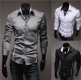 Men Shirts,Hot Sale Men'S Casual Shirts, High Quality Men Slim Fit Clothes Mens Shirts 3 Colors ko94(China (Mainland))
