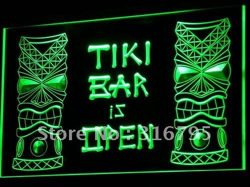 i573-g Tiki Bar is OPEN Mask Display NR LED Neon Light Sign(China (Mainland))